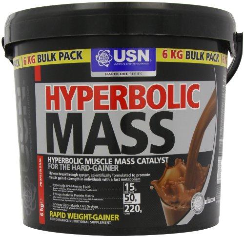 USN Hyperbolic Mass 6000 g Chocolate Weight and Muscle Gain Shake Powder