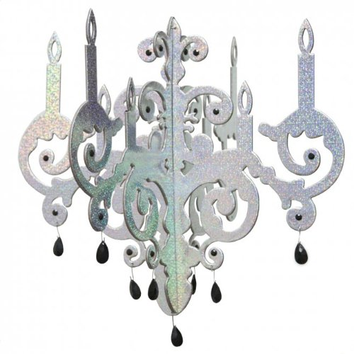 Lot 26 Studio Silver Shimmer Foil Chandelier Chipboard Chandelier Wall Decals, 17 by 17-Inch
