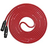 LyxPro Balanced XLR Cable 15 ft Premium Series Professional Microphone Cable, Powered Speakers and Other Pro Devices Cable, Red