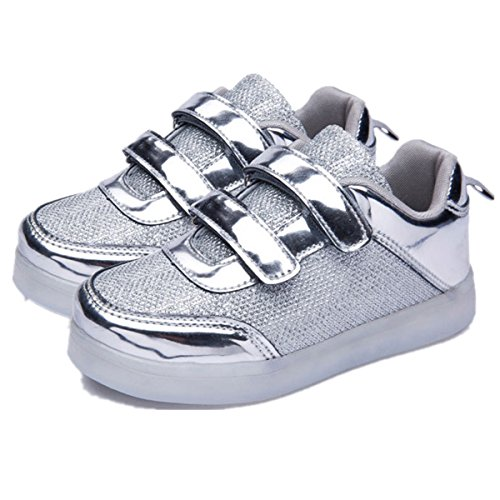 Yougao Multi-Color LED Lighting Shoes Flashing Sneakers USB Charging for Little Kid/Big Kid 37 Silver