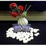 Christmas Decorations - Lavender Fragrance Square Glass Wax Candles - Set Of 2