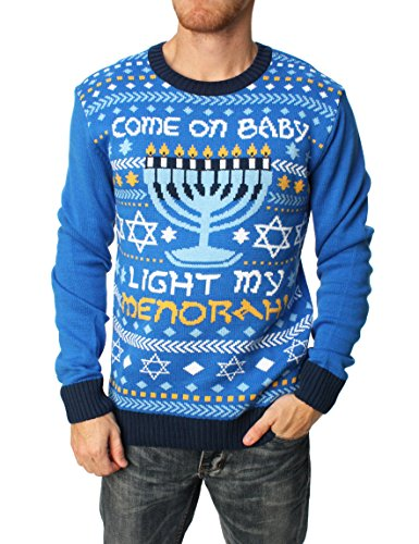 Ugly Christmas Sweater Men's Come On Baby Light My Menorah Hanukkah Sweater-S