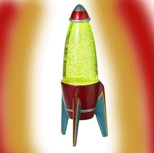 ROCKET Retro 1950's Space Age Glitter LAVA LAMP Fun New