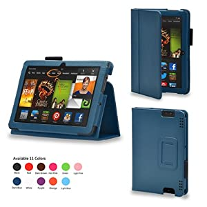 iZKA® - Amazon Kindle HDX 7 inch Tablet Leather Case Cover and Flip Stand Typing Wallet + ProPen Stylus Pen (2013 Model Fits All Versions - 16GB, 32GB & 64GB Wi-Fi + 4G LTE) - (Dark Blue)