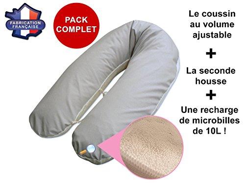 Komplettpaket-Stillkissen-BambusGrau-gepunktet-abnehmbarer-Bezug-mit-anpassbarem-Volumen-Die-zweite-Schutzhlle-eine-Nachfllpackung-mit-Kugeln