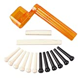 YMC Tint Bridge Pin+String Winder Plus Nut Saddle Set for Acoustic Guitar, Black & Ivory, 6 Piece