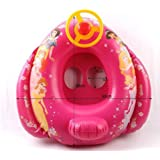 Baby Swim Seat Inflatable Swimming Boat Ring with Steering Wheel-red