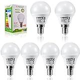 Liqoo® 6er 7W E14 LED Lampe Ersatz für 45W Glühlampe 550lm Warmweiß 3000K 270° Abstrahlwinkel Kugel Form Energiesparlampe mit CE und RoHs Kennzeichnung softes Lichter LED Birne Leuchtmittel