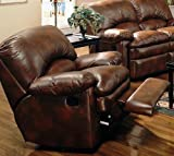 Rocker Recliner Sofa Chair Padded Arms Brown Bonded Leather