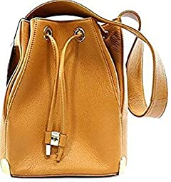 Vince Camuto New Janet Drawstring Burnt Caramel Pebbled Leather Medium Shoulder Bag