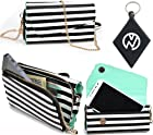 Pin Stripe Black And White Safari |Urban|Carrying case / Wallet phone cover Fits Motorola DROID RAZR M + NuVur ™ Keychain (ESMLUSW1)