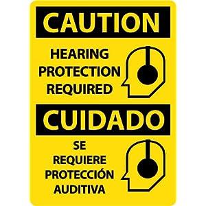 "NMC ESC717RB Bilingual OSHA Sign, Legend ""CAUTION - HEARING PROTECTION"