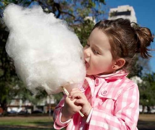 "Girl Eating Candy-floss - 24""W x 20""H - Peel and Stick Wall Decal by Wallmonkeys"