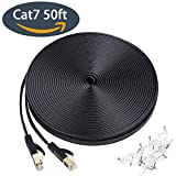 Cat7 Ethernet Cable, 50 ft Flat High Speed 10 Gigabit LAN Network Patch Cable with Clips, Faster than Cat6 Cat5e, Shielded RJ45 Connectors for Xbox One, Switch, Router, Modem, Printer- Black(15M)