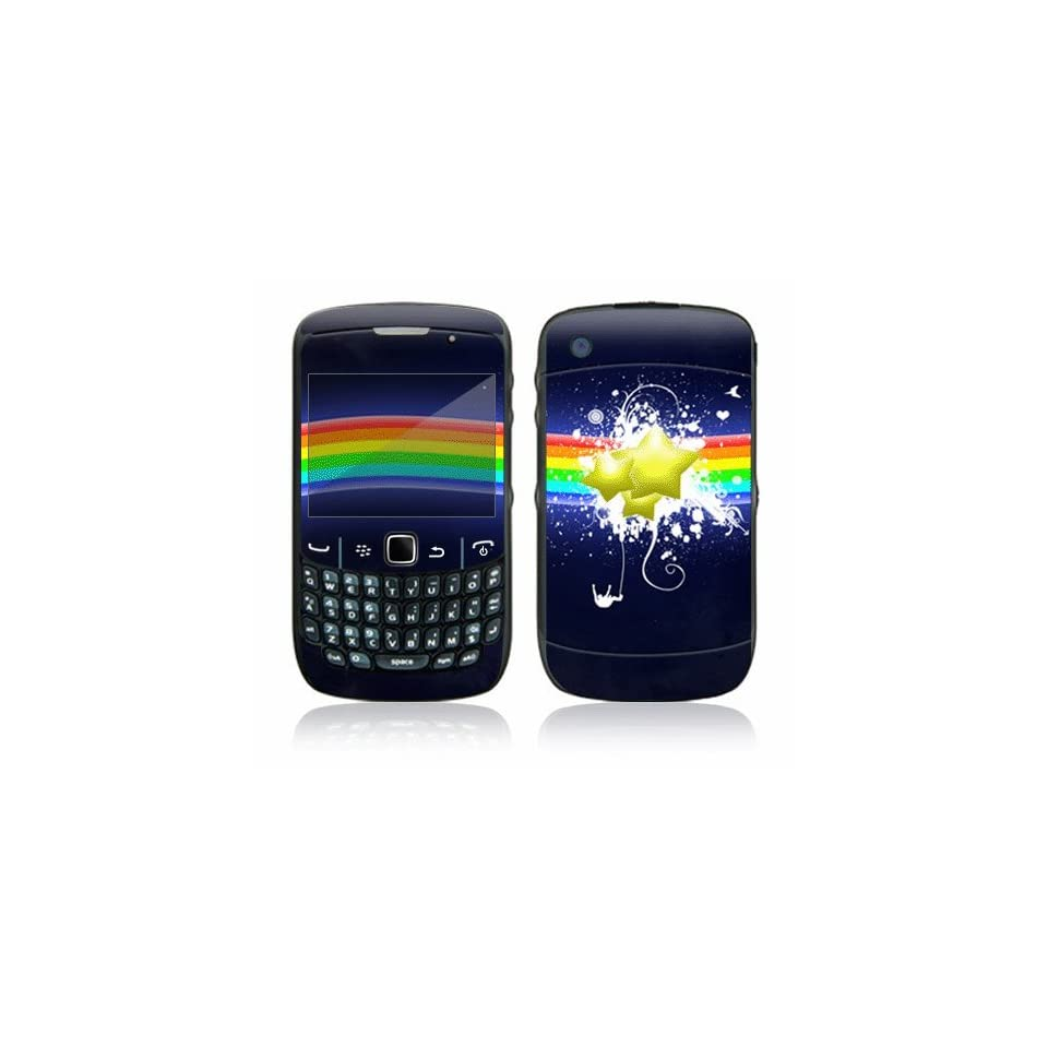 Rainbow Stars Decorative Skin Cover Decal Sticker for BlackBerry Curve 8500 Cell Phone