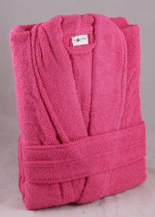 450 GSM Hot Pink 100% Cotton Terry Towelling Bathrobe - Free Size