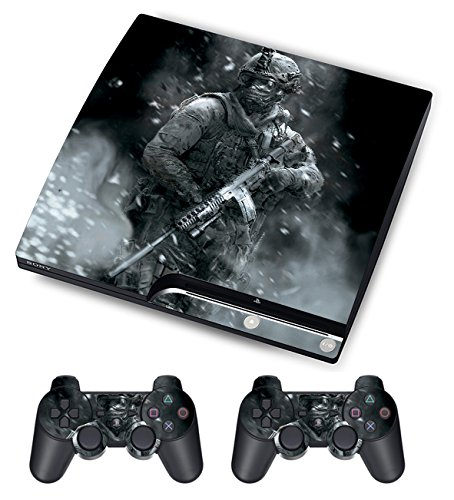 Designer Skin for Sony PS3 Slim Console System Plus Two Decals For: Playstation 3 Dualshock Controller Call of Duty Modern Warfare 3 10pcs lot vinyl for star wars ps4 sticker for sony playstation 4 console 2 controller skin sticker for ps4 skin free shipping