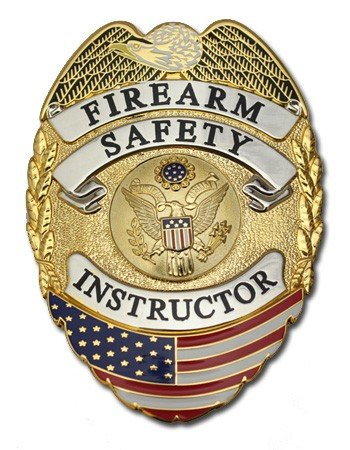 Two Toned Firearm Safety Instructor Flag Gold with Silver Panels Hard Lettering Curved Badge with Pin and Safety