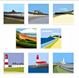 Pack of 8 blank, fine art greeting cards (Holy Island, Bamburgh Castle, Saltburn-by-the-Sea, South Bay Scarborough, North Bay Scarborough, Souter Lighthouse, Longstone Lighthouse, St Mary's Lighthouse)