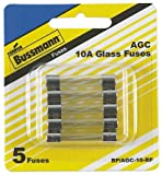 "Bussmann BP/AGC-10-RP AGC 10 Amp Fast-Acting Glass Tube Fuses 1/4"" x 1-1/4"" - 5 per Card"