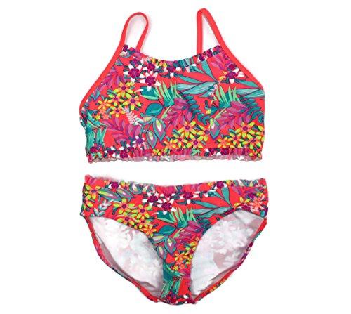 xhilaration-girls-2-piece-orange-neon-floral-bikini-swimsuit-x-large-14-16-orange-neon