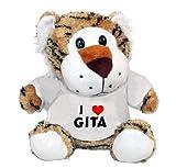 Plush Tiger Toy with I Love Gita t-shirt (first name/surname/nickname)