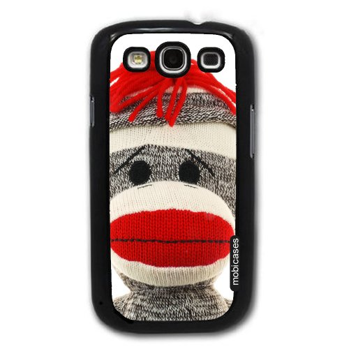 Sock Monkey Face - Protective Designer BLACK Case - Fits Samsung Galaxy S3 SIII i9300