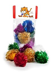 Sparkle Ball Tuff Kitty Puff Cat Toy - 6 Pak