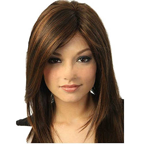 [Winson-eseller Fashion wig New sexy Women's Medium long Dark Brown Straight Natural Hair wigs] (Long Sexy Wigs)