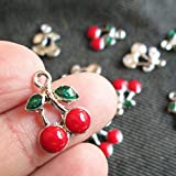 Red Cherry Charms 10 Pcs Enamalized New Year Green Red Fruit Charm (NS099)