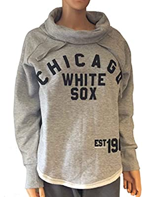 Chicago White Sox SAAG Women Gray Slub Neck Hoodie Sweatshirt