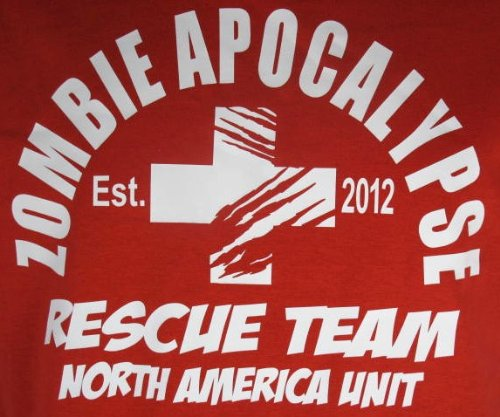 2012 Red Zombie Apocalypse Rescue Team Horror Funny Adult T-Shirt Tee 2012
