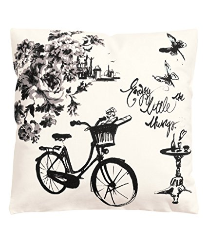 """French Vintage Accent Decorative Throw Pillow Cover 100% Cotton Throw Pillow Cover Cushion 16 X 16"""" Bicycle Design front-969874"""
