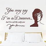 John Lennon IMAGINE Lyrics , wall sticker, decal, quote, Transfer, Bedroom, mural, new design! -LARGE -SIZE 120cm x 60cm -Brown
