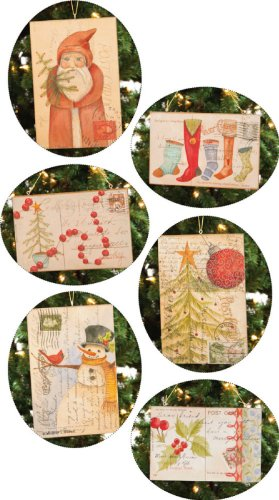 Vintage Postcard Ornament, 6x.25x4 Inches,Assorted