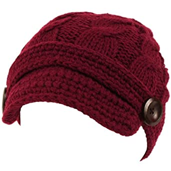 Hand made Cable Hand Knit Skull Beanie Winter Wine