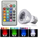 5430net E27/E26 Standard Screw Base 16 Colors Changing Dimmable 3W RGB LED Light Bulb with IR Remote Control for Home Decoration/Bar/Party/KTV Mood Ambiance Lighting (Flat Top)