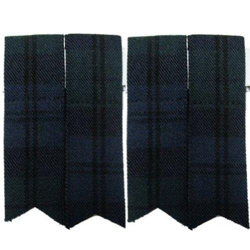 New Pair Black Watch Tartan Pointed Kilt Sock Flashes