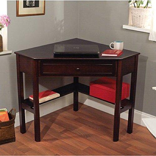 Sturdy Wooden Corner Writing Desk (Espresso) (Corner Computer Desk Espresso compare prices)