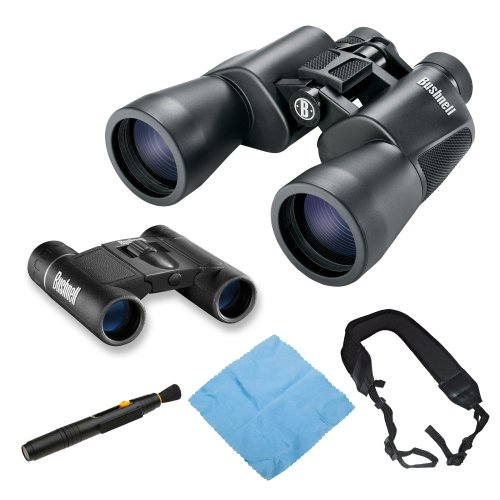 Bushnell 20X50 Powerview Binocular With Bushnell Powerview 8X21 Folding Roof Prism Binocular + Microfiber Cloth And Lens Pen Cleaning Kit + Wide Strap