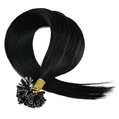 Tipped Hair Extension, Grammy 100 Strands 22 Inch Remy Pre Bonded Keratin Nail Tip Human Hair Extensions (0.5g/s) 50gr