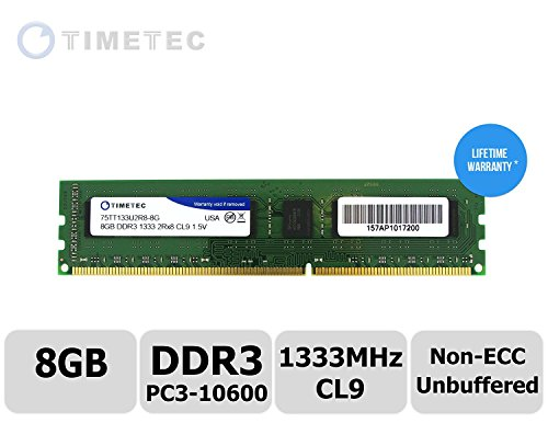 Timetec (P/N 75TT133U2R8-8G) 8GB Dual Rank 1333MHz DDR3 (PC3-10600) Non-ECC Unbuffered CL9 240-Pin UDIMM 2Rx8 512x8 1.5V Desktop PC Computer Memory Ram Module Upgrade (8GB)
