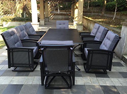 9pc Palmetto Aluminum and Wicker Swivel Rocking Patio Dining Set Black