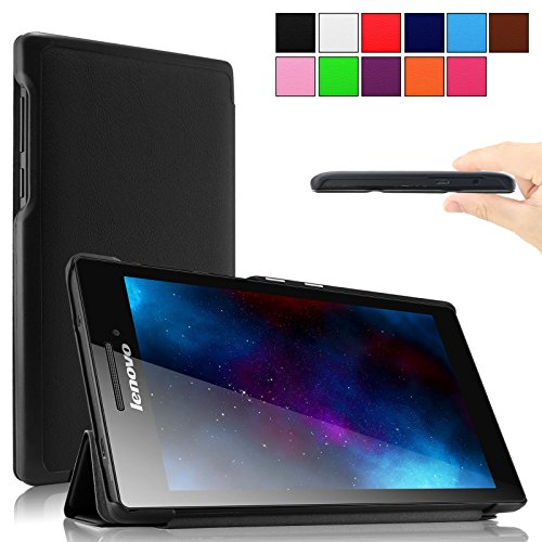 Infiland Lenovo Tab 2 A7-10 SmartShell Hülle Case Tasche Etui -Tri-fold Shell Ultra Slim Superleicht PU Leather Stand Cover Hülle für Lenovo Tab 2 A7-10 17,8 cm (7 Zoll IPS)Tablet (Schwarz)