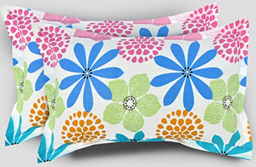 Ahmedabad Cotton Floral Print Cotton Pillow Cover / Case Set (2 Pcs) - Multicolor  available at amazon for Rs.199