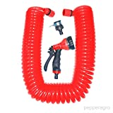 Pepper Agro GHG1008 Car Wash Garden Tools Water Coil Hose Set (50 Feet, Red)