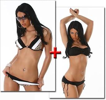 74b94a8b87e31 Heißer Push Up Triangel - Bikini in schwarz und heißer Push Up Triangel -  Bikini in schwarz - weiss - leo ( 649 Stella ) review