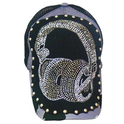 Rhinestore Headphones Hat- Black/Grey - One Size