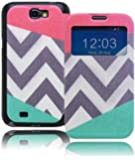 Note 2 Case, Bastex Heavy Duty Unique Flip Stand Case with Card Holder, Split Pink/Teal Color Chevron Design for Samsung Galaxy Note 2 N7100