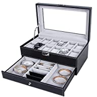 Songmics Leather 12 Mens Watch Box wi…